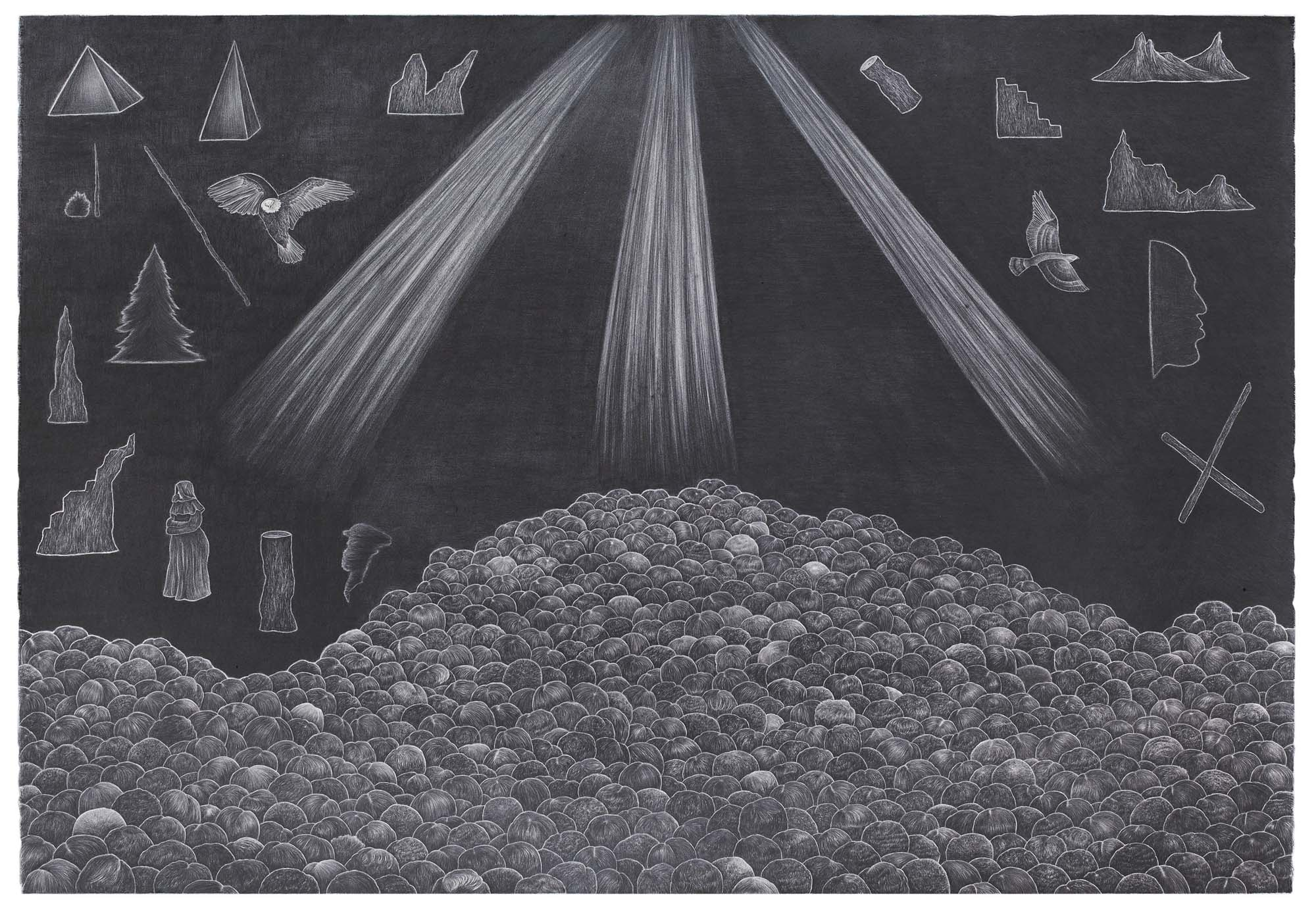 Ultralight Beam Terzetto 2016, Graphite on paper, 41 ½ x 63 inches