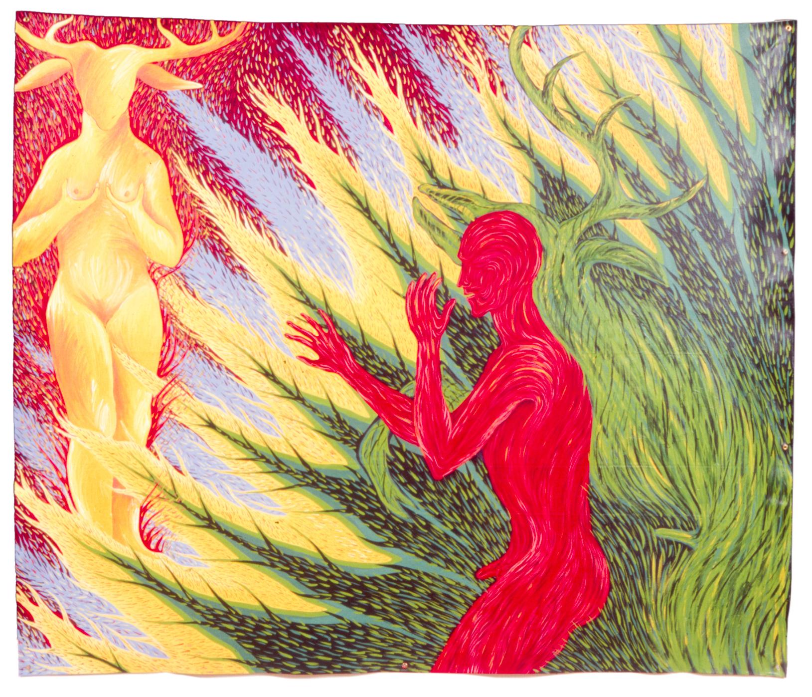 Faith Wilding Myths of Desire: Diana and Actaeon, 1984, acrylic on canvas, 76 x 91 in