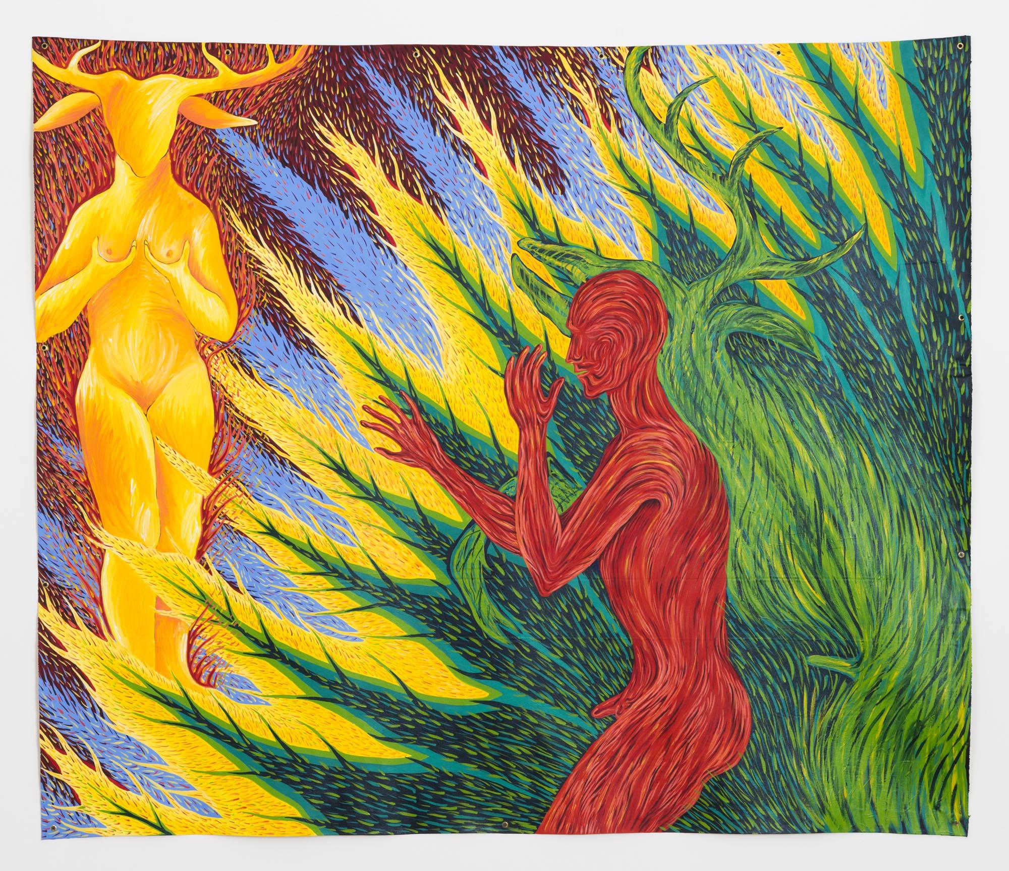 """FAITH WILDING """"Myths of Desire: Diana + Actaeon"""" , 1984, acrylic on canvas, 71.5 x 83 in."""