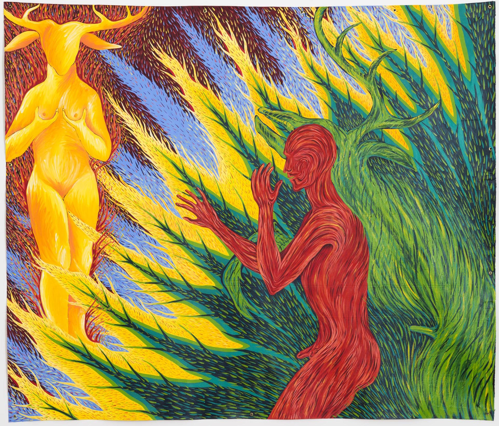 "FAITH WILDING ""Myths of Desire Diana + Actaeon"" , 1984, Acrylic on canvas, 71 ½ x 83 in"
