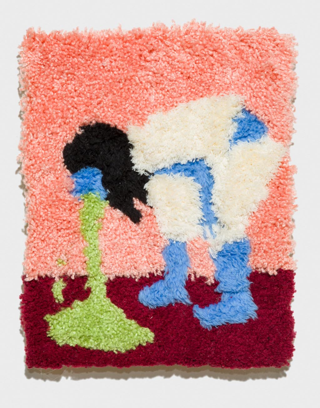 Carpet Puking 2017, acrylic rug on panel, 14 x 11 inches
