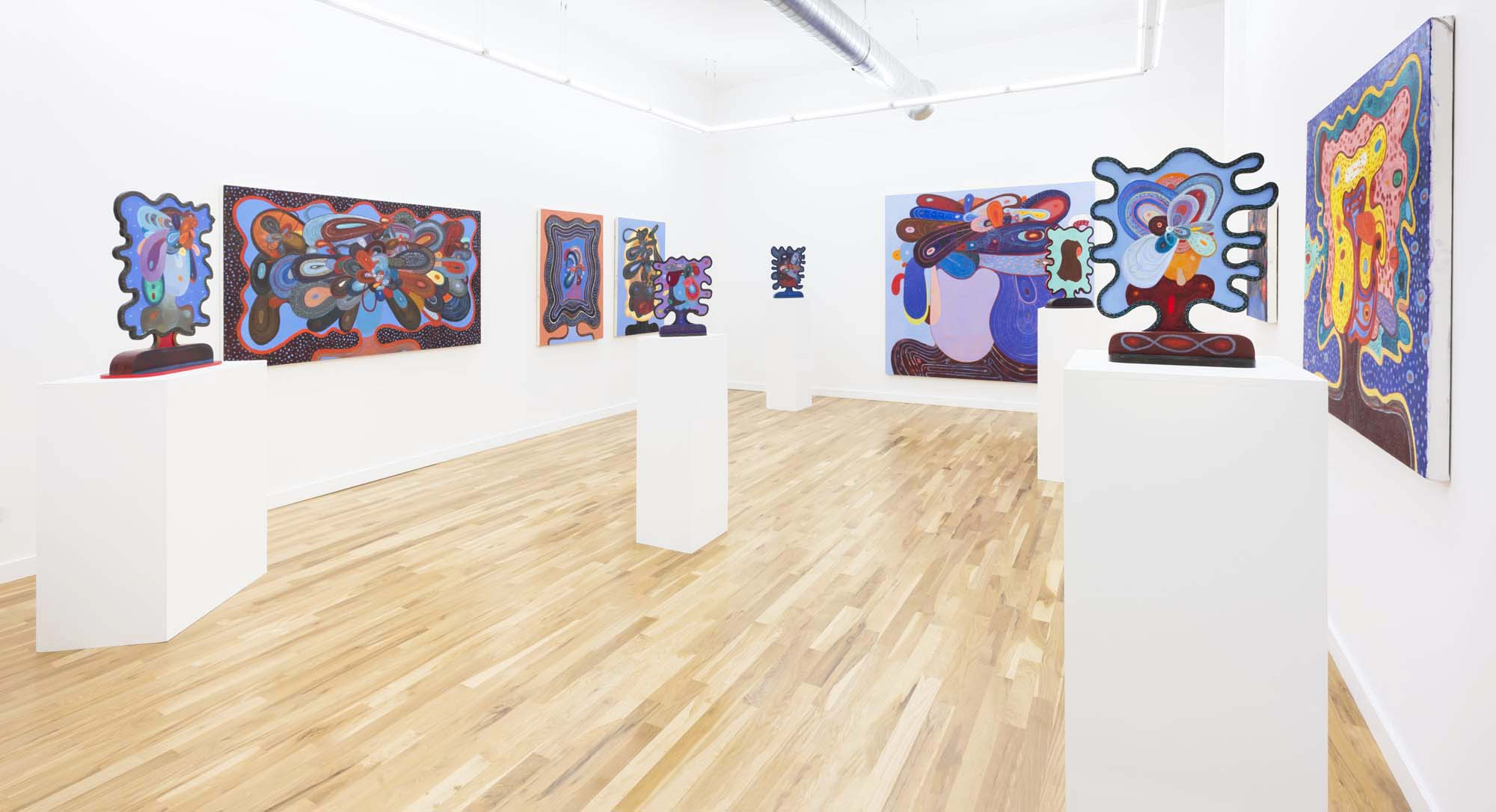 """Installation view of """"New Work"""", April 13 to May 26, 2018, photograph by James Prinz"""